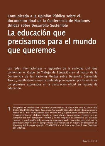 La educación que precisamos para el mundo que queremos - Tarea