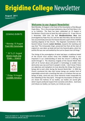 Issue 011 August 12 th 2011 - Brigidine College Randwick