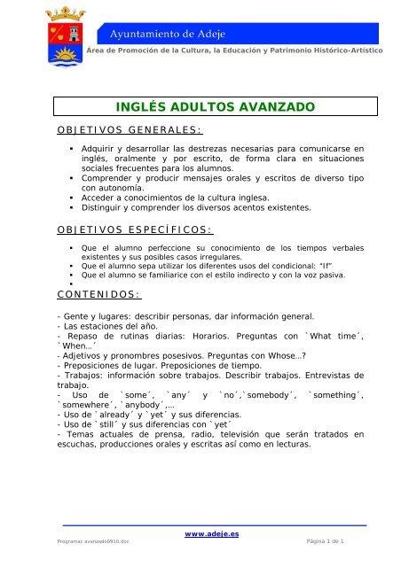 Inglés Adultos Avanzado