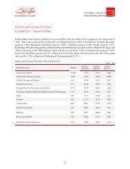 Inflation and Consumer Price Index First Half 2011 – Emirate of Dubai