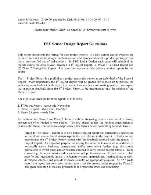 ESE Senior Design Report Guidelines - the Department of