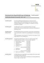 Ausbildungsplan - Institut für Kommunikation und Gesundheit