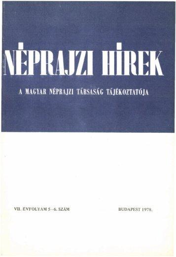 A magyar néprajztudomány bibliográfiája 1977 ... - Néprajzi Múzeum