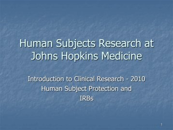 Human Subjects Research at Johns Hopkins Medicine - The Johns ...