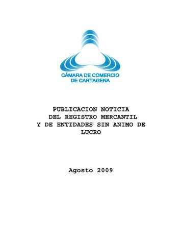 BOLETIN AGOSTO 2009 - Cámara de Comercio de Cartagena