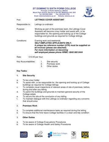 Job Description - St Dominics | Sixth Form College