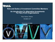 Role and Duties of Investment Committee Members ... - Venable LLP