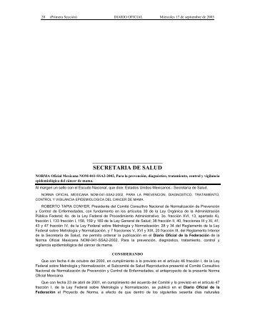 Norma Oficial Mexicana NOM-041-SSA2-2002, para la prevención ...