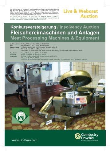 Konkursversteigerung / Insolvency Auction Fleischereimaschinen ...