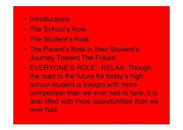 The School's Role • The Student's Role - yourhomework.com Home ...