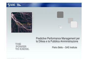 Predictive Performance Management per la Difesa e la Pubblica ...