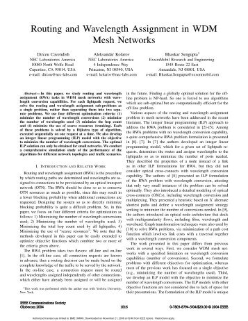 Routing and wavelength assignment in WDM mesh networks ...