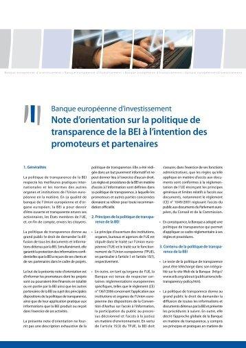 Note d'orientation sur la politique de transparence de la BEI à l ...