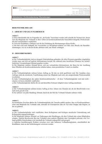 BERUFSETHIK DER AIIC I - Language Professionals