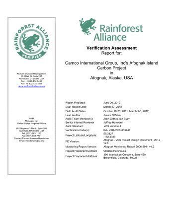 VCS Verification Audit Report - Rainforest Alliance