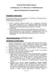 Telewizja Polska Spółka Akcyjna z siedzibą przy ul J. P. ... - TVP