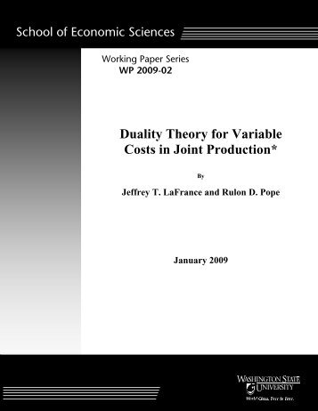 Duality Theory for Variable Costs in Joint Production* - ResearchGate