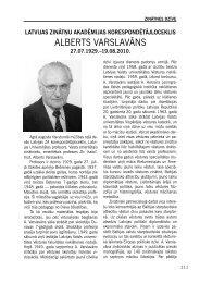 ALBERTS VARSLAVĀNS - Latvijas Zinātņu Akadēmija