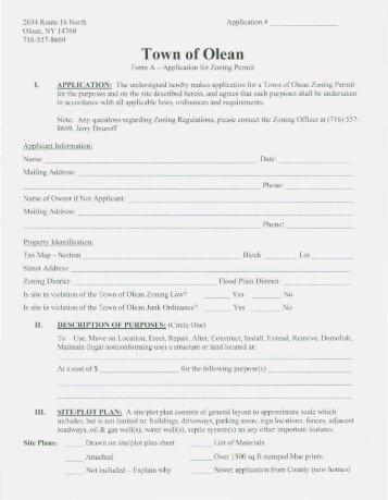 Application for Zoning & Building Permit in the Town of Olean