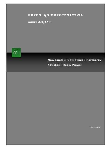 Kancelaria NG przegląd orzecznictwa 04-05.2011 - Pracodawcy ...