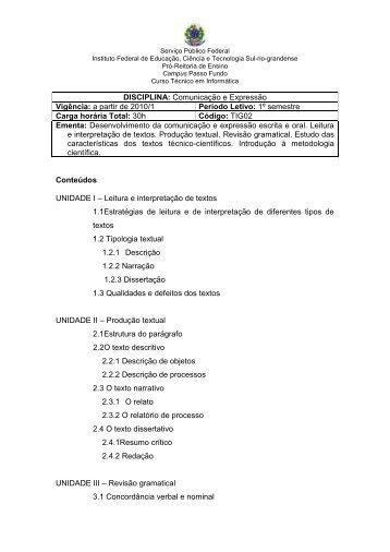 Disciplina: Comunicação e expressão - Instituto Federal Sul-rio ...