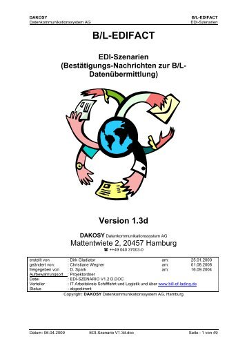 Bestätigungsnachrichten zur B/L-Datenübermittlung - DAKOSY ...