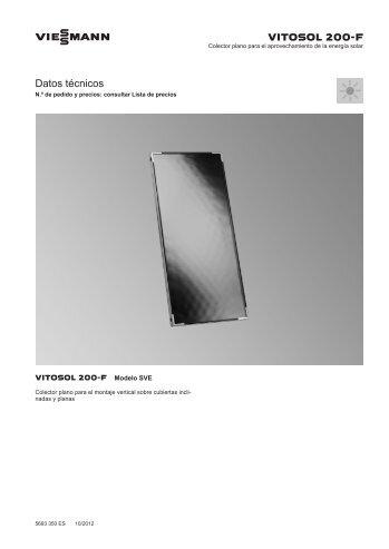 Datos técnicos Vitosol 200-F SVE350 KB - Viessmann
