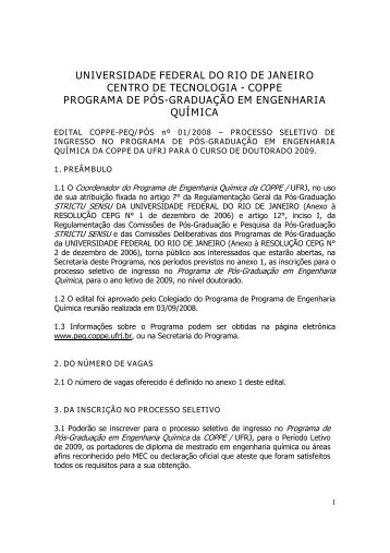 Edital - Programa de Engenharia Química - COPPE / UFRJ