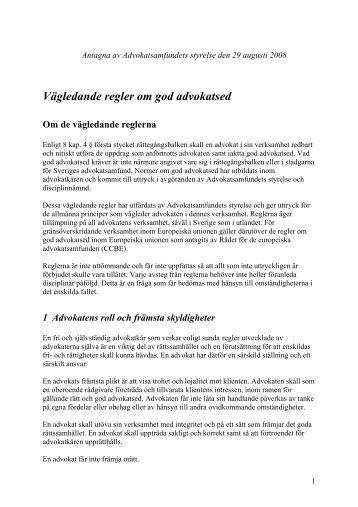 Vägledande regler om god advokatsed - Advokatsamfundet