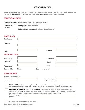 REGISTRATION FORM CONFERENCE DATES HOTEL DATA PERSONAL DATA ...