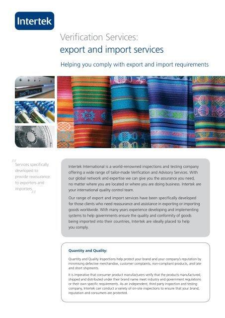 Export/Import Services - Intertek