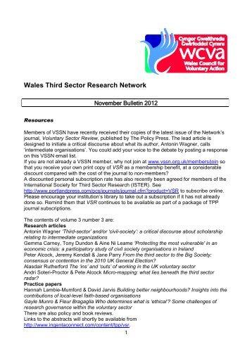 WTSRN Bulletin Nov 2012 - WCVA