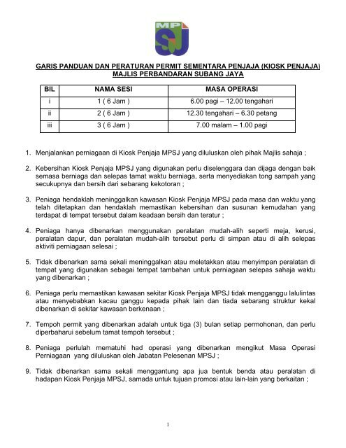 Garis Panduan Dan Peraturan Permit Sementara Penjaja Mpsj