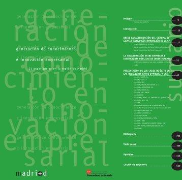 Generación de conocimiento e innovación empresarial - Madri+d