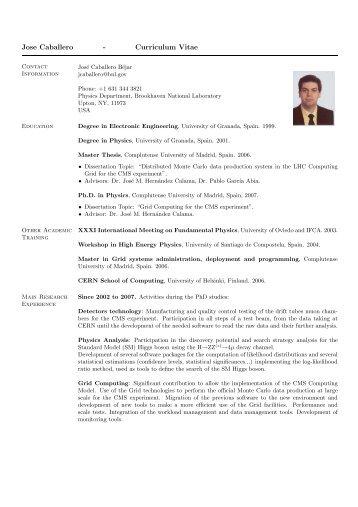 Jose Caballero - Curriculum Vitae - US Atlas - Brookhaven National ...