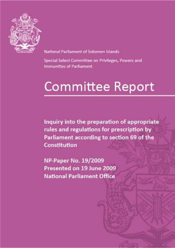 Committee Report - National Parliament of Solomon Islands
