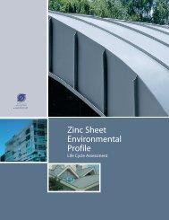 Zinc Sheet Environmental Profile - Life Cycle Assessment