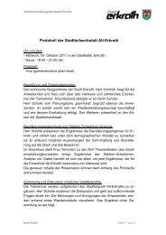 Protokoll der Stadtteilwerkstatt Alt-Erkrath - Zukunft Erkrath