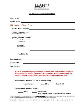 Lean Proctor Form - Society of Manufacturing Engineers