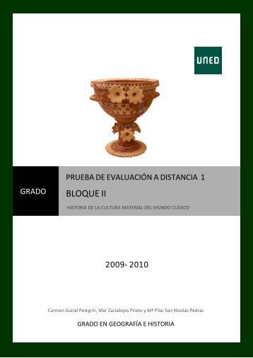 Historia de la cultura material del mundo clásico PED nº 1