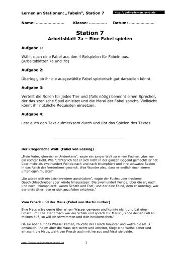 Vom Fischer und seiner Frau Arbeitsblatt - Online lernen - Online ...
