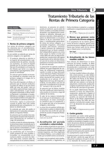 Tratamiento Tributario de las Rentas de Primera Categoría - Revista ...