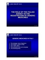 THE ROLE OF THE ITALIAN AGENCY IN THE ... - Assogenerici