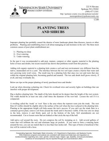 planting trees and shrubs - Spokane County Extension - Washington ...