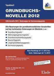 GRUNDBUCHS- NOVELLE 2012 - Linde Verlag