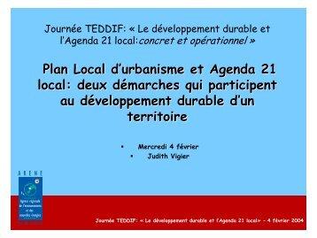 Plan Local d'urbanisme et Agenda 21 local: deux ... - Teddif