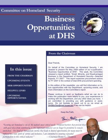 DHS Business Opportunities - May Newsletter - Committee on ...
