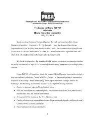 Testimony - Pennsylvania Association of School Administrators