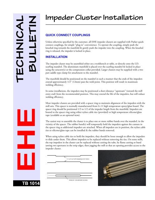Installing EHE impeder clusters - Electronic Heating Equipment Inc