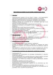 REIVINDICACIONES ELECCIONES SINDICALES 2011 - FETE-UGT